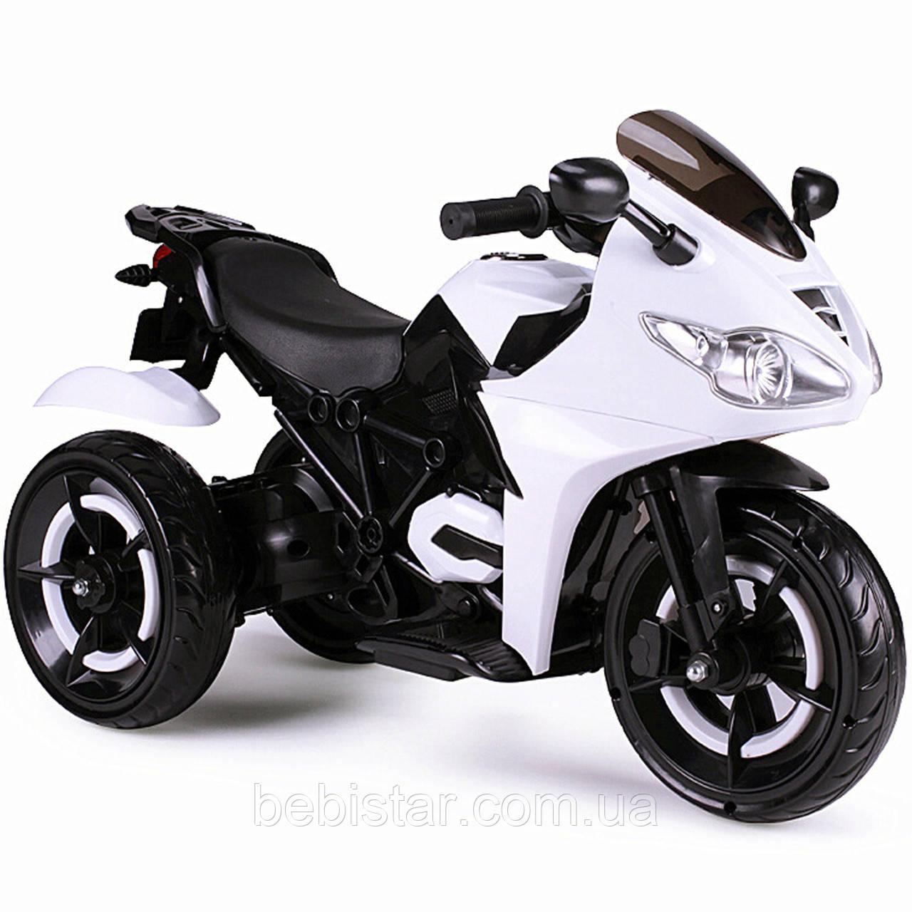 Електромобіль триколісний мотоцикл білий, світяться колеса, діткам 3-8 років мотор 2*14W акумулятор 12V4.5AH
