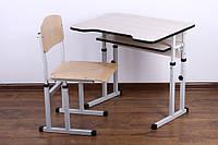 Комплект стол парта +стул ученический 1-местный антисколиозный  регулируемый по высоте №4-6 БО-ПБО