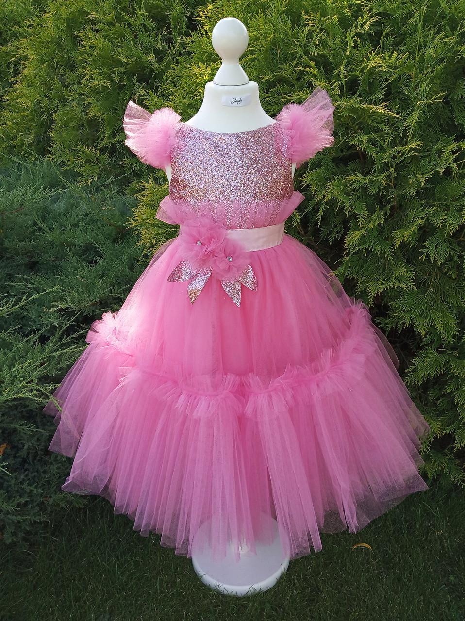 Р 116, детское нарядное платье розового цвета