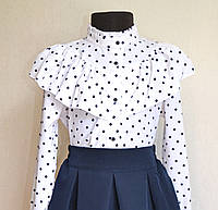 Школьная нарядная блузка для девочки 9-13 лет, белая в горошек