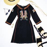 Черное платье-вышиванка Cubus, размер XS, арт. 30-1081