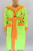 Детский махровый халат  салатовый с жирафом на 9-10 лет