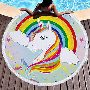 """Красивый круглый пляжный коврик """"Единорог радуга"""". Круглое полотенце коврик на пляж"""
