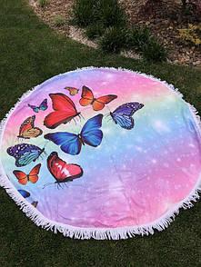 """Красиве кругле покривало пляжний килимок """"Метелики"""". Пляжний килимок покривало підстилка для моря"""