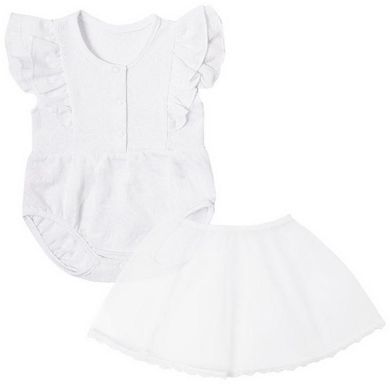Детское боди для девочки BD-19-19-2 *Ажурный* с юбкой (размеры 62,68,74. Цвет белый, желтый, розовый)