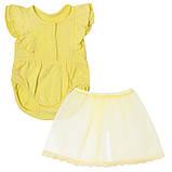 Детское боди для девочки BD-19-19-2 *Ажурный* с юбкой (размеры 62,68,74. Цвет белый, желтый, розовый), фото 2