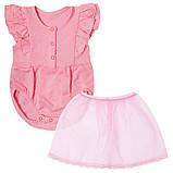 Детское боди для девочки BD-19-19-2 *Ажурный* с юбкой (размеры 62,68,74. Цвет белый, желтый, розовый), фото 3