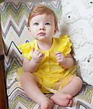 Детское боди для девочки BD-19-19-2 *Ажурный* с юбкой (размеры 62,68,74. Цвет белый, желтый, розовый), фото 4