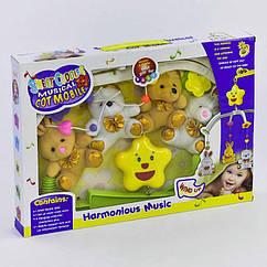 Карусель D 062 (36/2) музыкальная, заводной механизм, 4 мягкие игрушки, в коробке