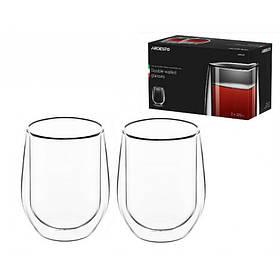 Набор стаканов с двойными стенками для латте 320 мл 2 шт боросиликатное стекло Ardesto AR2637G