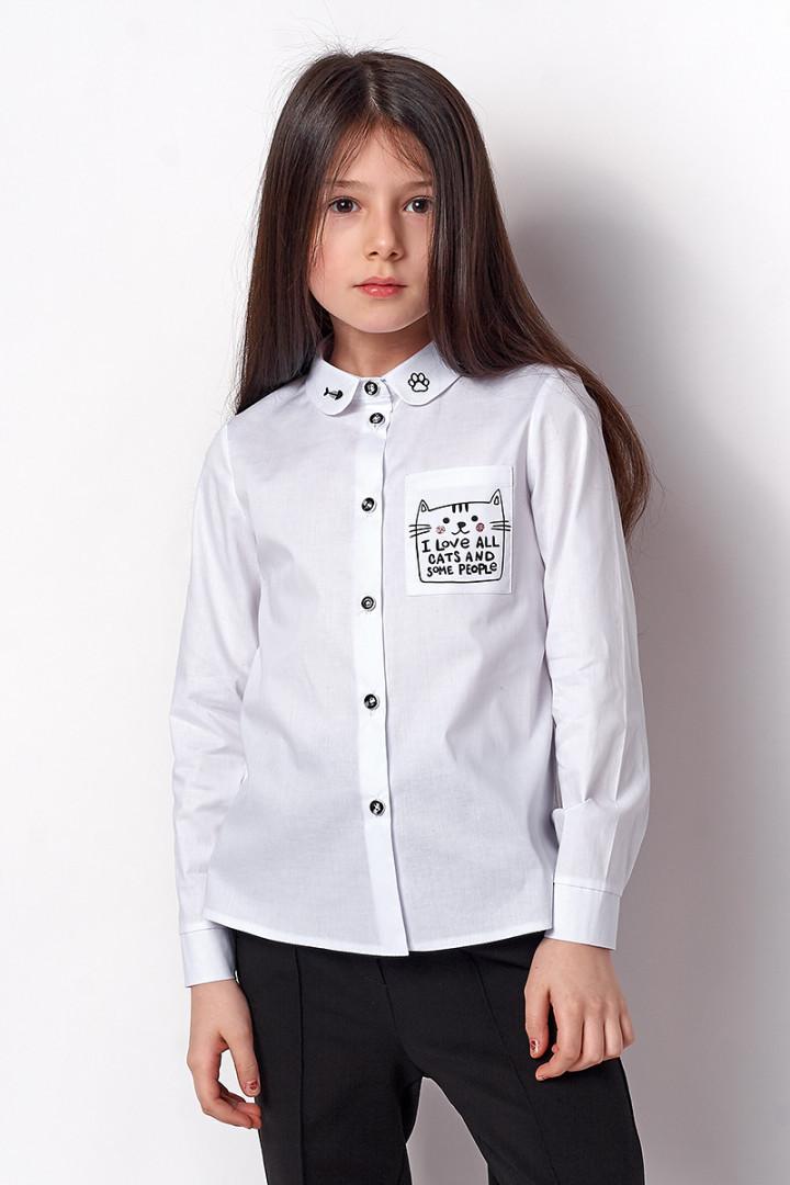 Школьная рубашка для девочки белого цвета Меvis  р. 122, 134, 140, 146