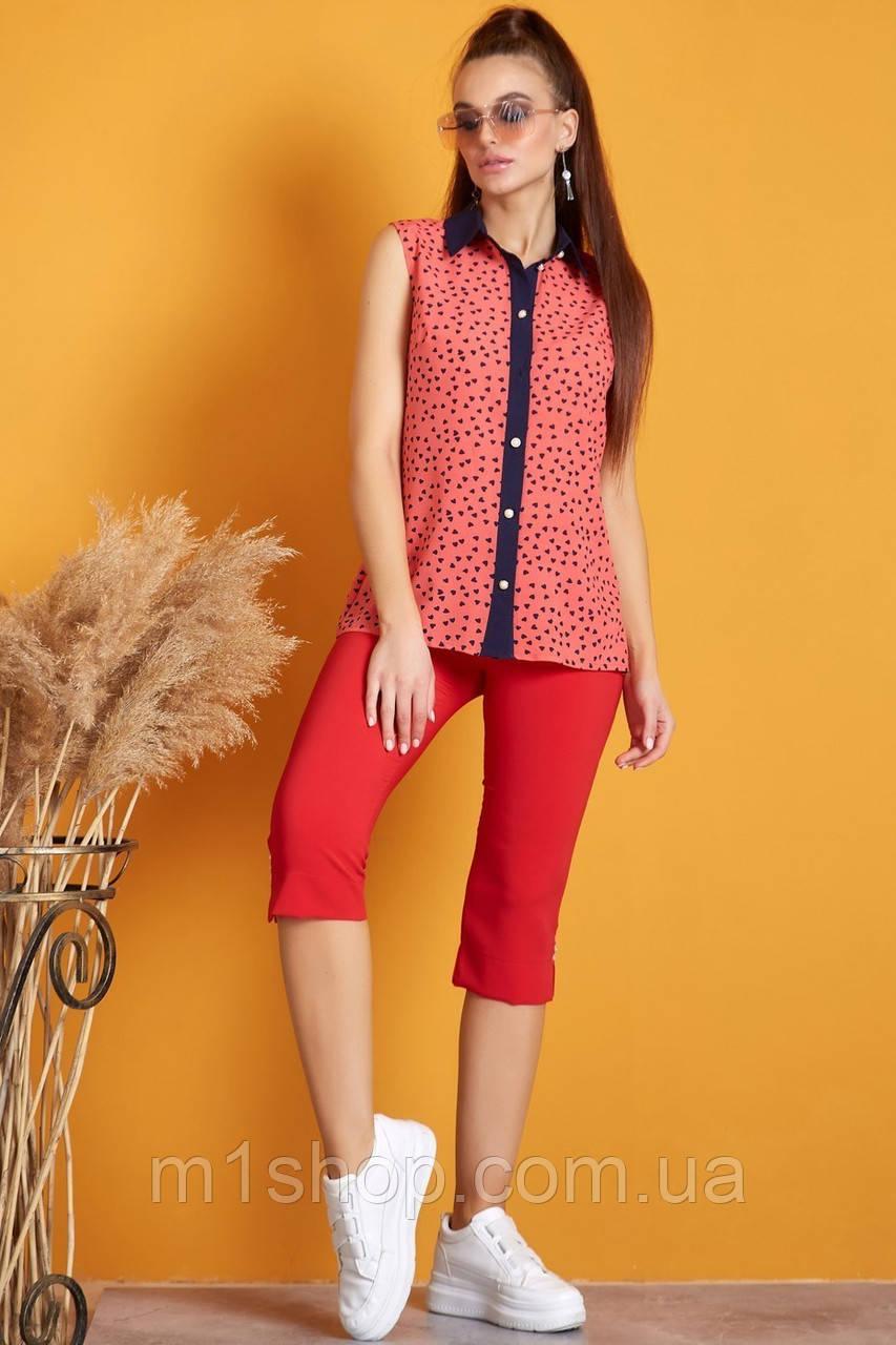 Женская летняя блузка без рукавов с принтом (0921-0920-0922 svt)