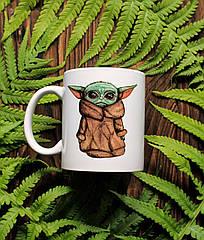 """Чашка з авторським малюнком """"Baby Yoda"""". Чашка з прінтом"""