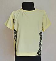 Детская школьная блузка для девочек 6-12 лет, лимонного цвета, фото 1