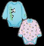 Детский бодик для девочки BD-20-1-2 (комплект 2 шт) (размеры 62,68,74. Цвет бирюзовый, розовый)), фото 2