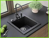 Кухонная гранитная мойка графит Formini / кухонна гранітна мийка 500/420/200