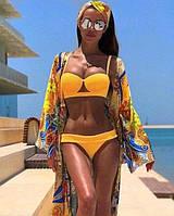 Желтый женский раздельный купальник с пуш ап
