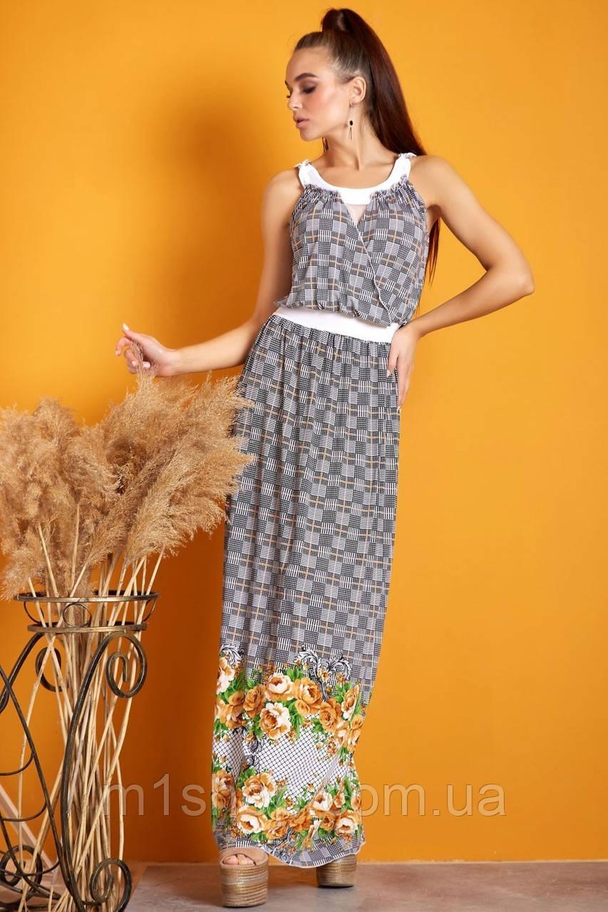 Женское летнее платье макси на бретелях (0934-0933-0935 svt)