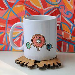 """Чашка з авторським малюнком """"Пончики"""". Чашка з прінтом"""