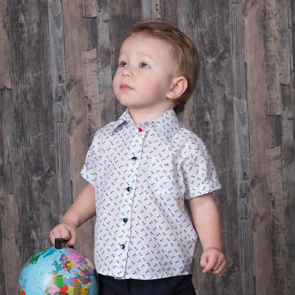Детская рубашка для мальчика *Якоря* (размеры 74,80)