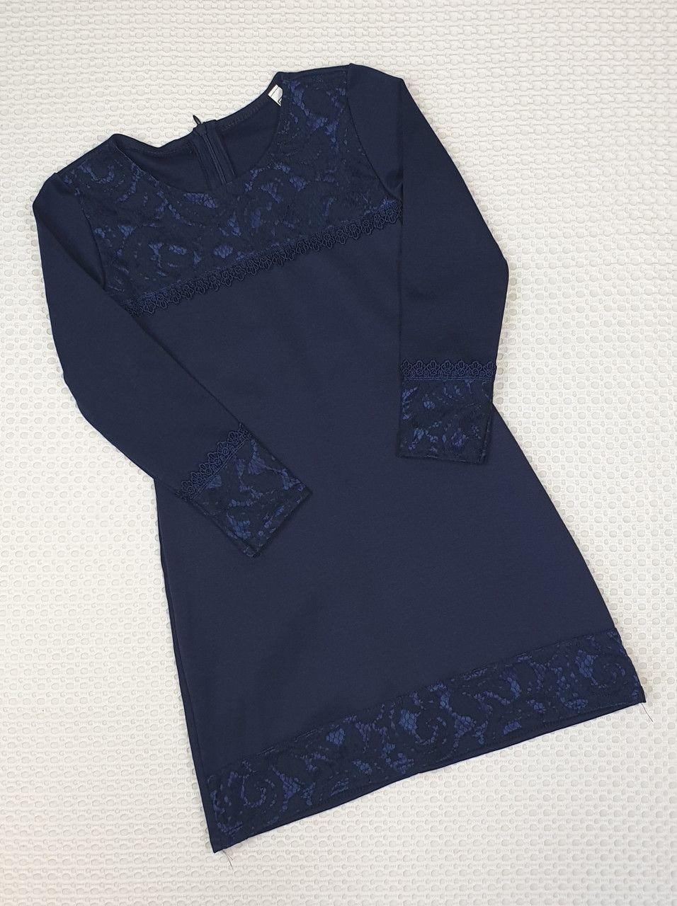 Школьное платье для девочки  р.122-140 т.синие