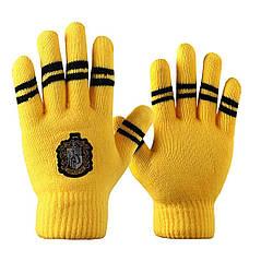 Перчатки Гарри Поттер Пуффендуйс полосками цвета факультета HP 6.145