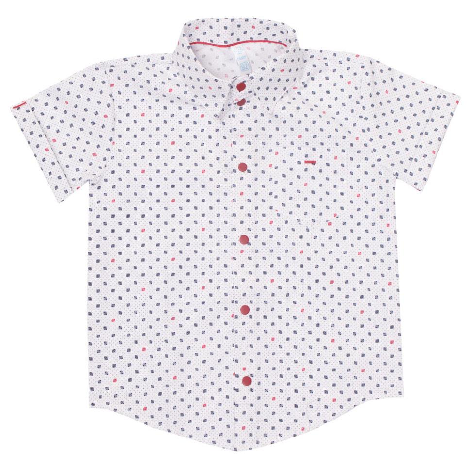 Детская рубашка для мальчика RB-1 (размеры 86,92, цвет белый,голубой,персиковый))