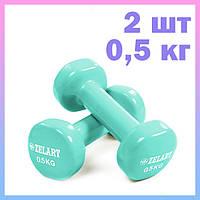 Гантели для фитнеса с виниловым покрытием (2 шт по 0,5 кг)