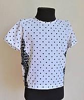 Детская школьная блузка для девочек 6-12 лет, белая в горошек, фото 1