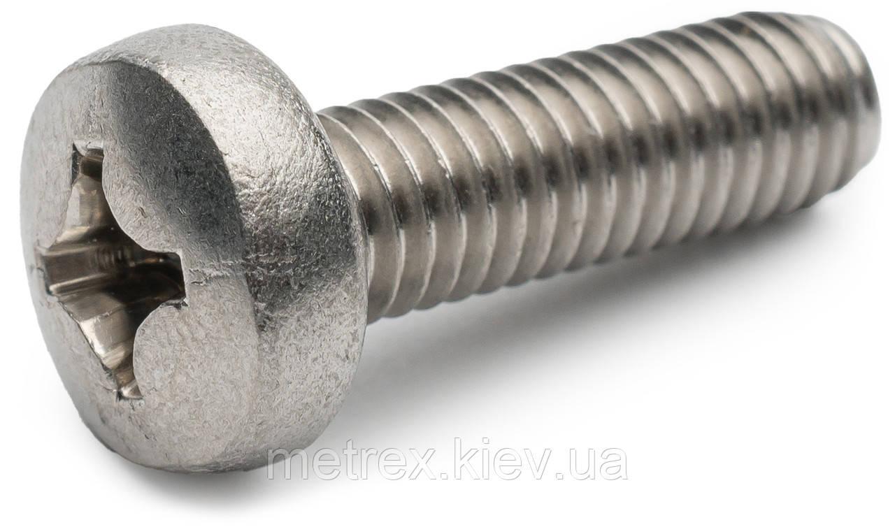 Винт DIN 7985 М4х8 мм А2 с полукруглой цилиндрической головкой из нержавеющей стали