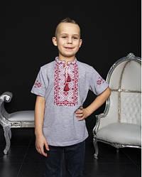 Детская вышиванка Зорянчик  ,ткань лакоста,р 110,116 серая с красн., дитяча вишиванка