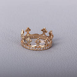 Золота каблучка корона з фіанітами КП1603