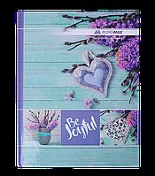 Книга канцелярская ROMANTIC, А4, 96 л., клетка, офсет, твердая ламин. обложка, бирюзовая (BM.2400-306)