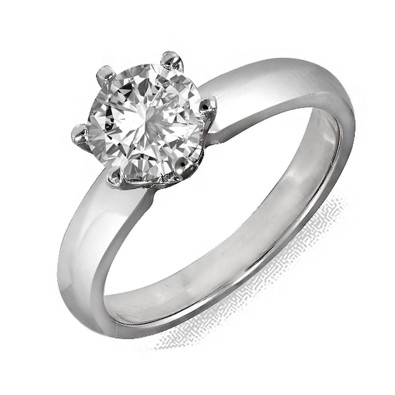 Золотое кольцо с бриллиантом, размер 16 (082412)