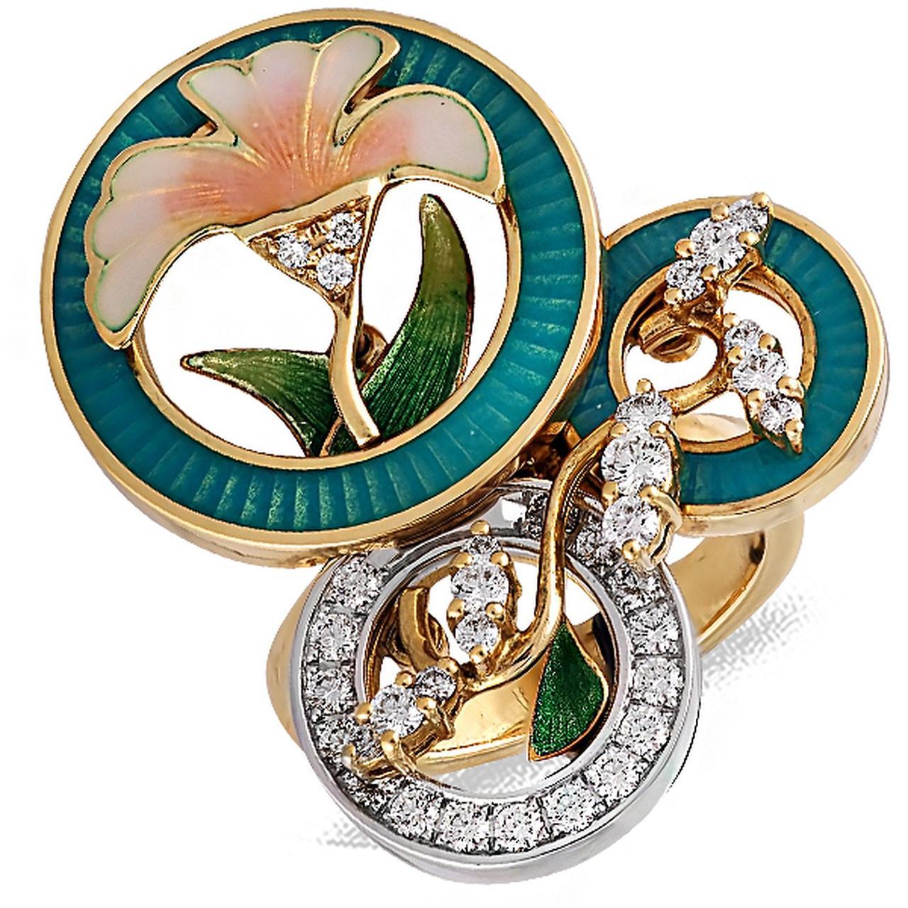Золотое кольцо с бриллиантами и эмалью, размер 16.5 (004317)