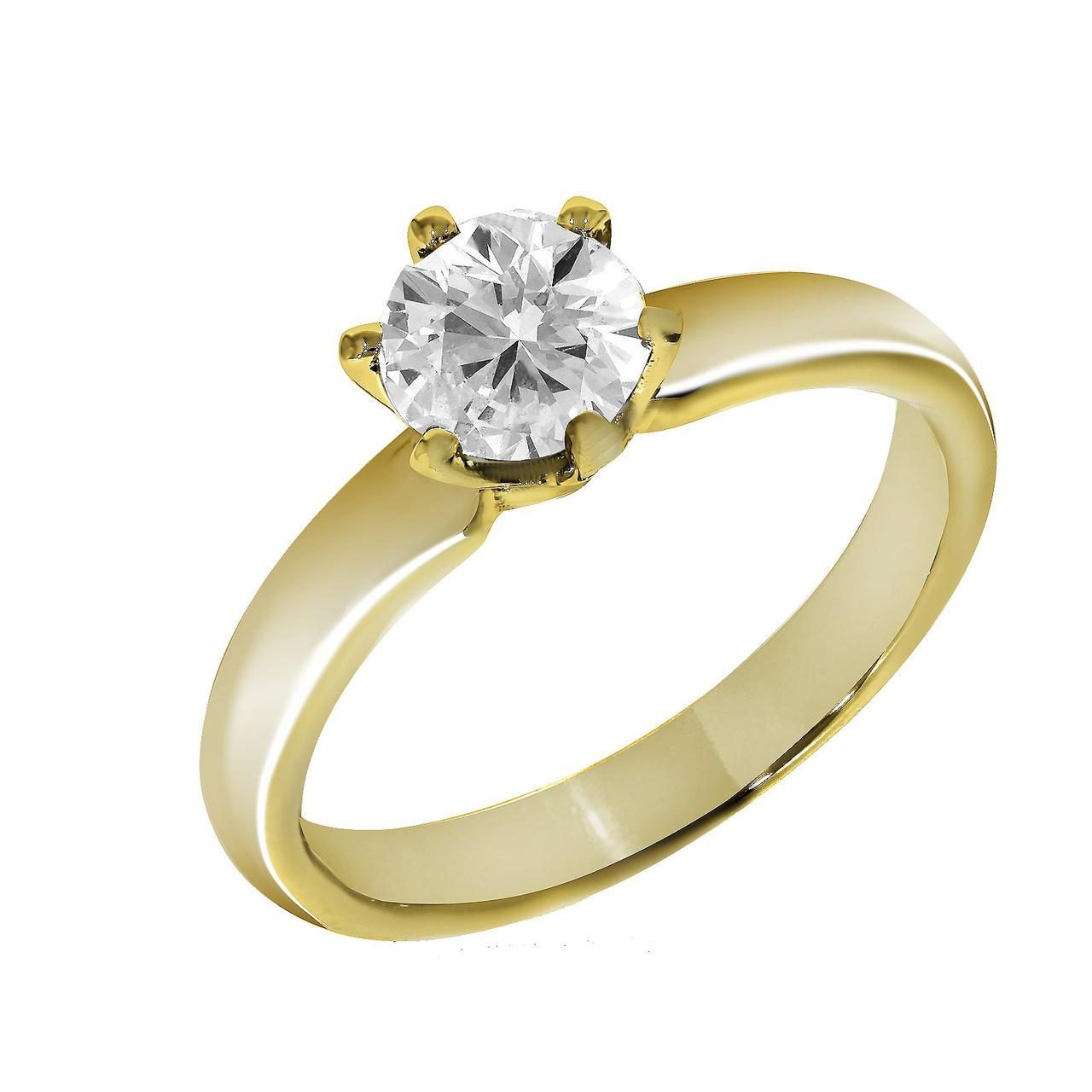 Золотое кольцо с бриллиантом, размер 17.5 (816637)