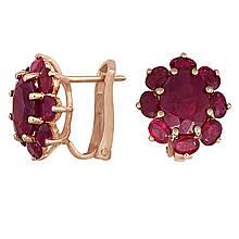 Сережки з червоного золота з рубінами (103397)