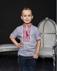 Детская вышиванка Иванко  ,ткань лакоста,р 104,110,116,122,128,134,140,146,152 серая с красн
