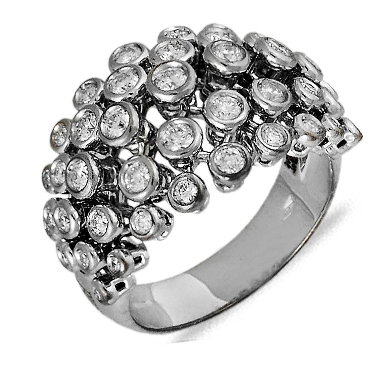 Золотое кольцо с бриллиантами, размер 17.5 (041583)