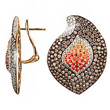 Сережки з жовтого золота з діамантами і сапфірами (046665)
