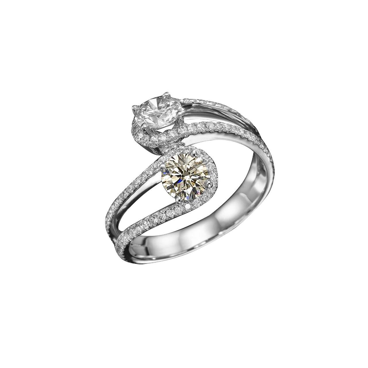 Золотое кольцо с бриллиантами, размер 17 (1689365)