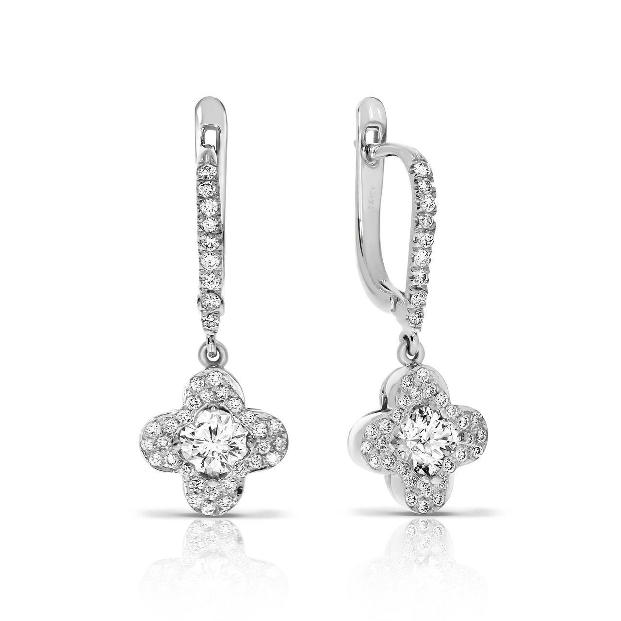 Серьги из белого золота с бриллиантами (1681461)