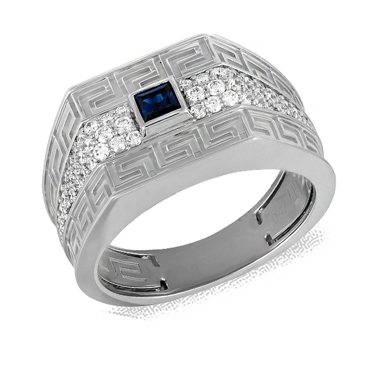 Золотое кольцо с бриллиантами и сапфирами, размер 19.5 (076686)