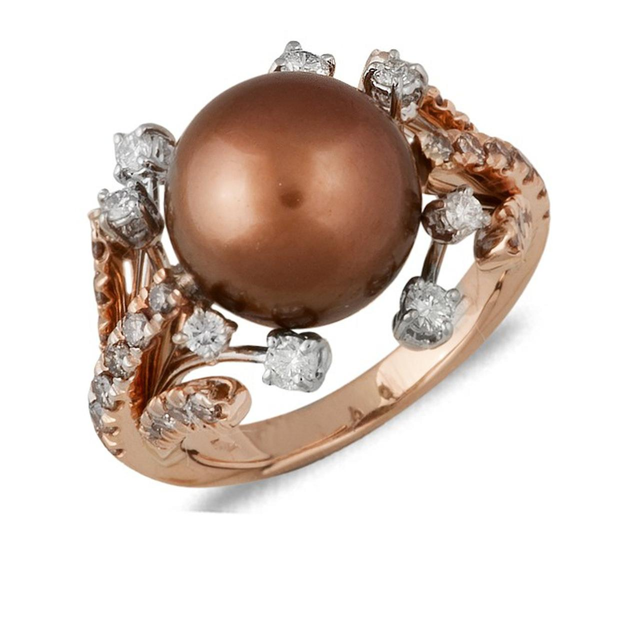 Золотое кольцо с бриллиантами и жемчугом, размер 16 (031875)