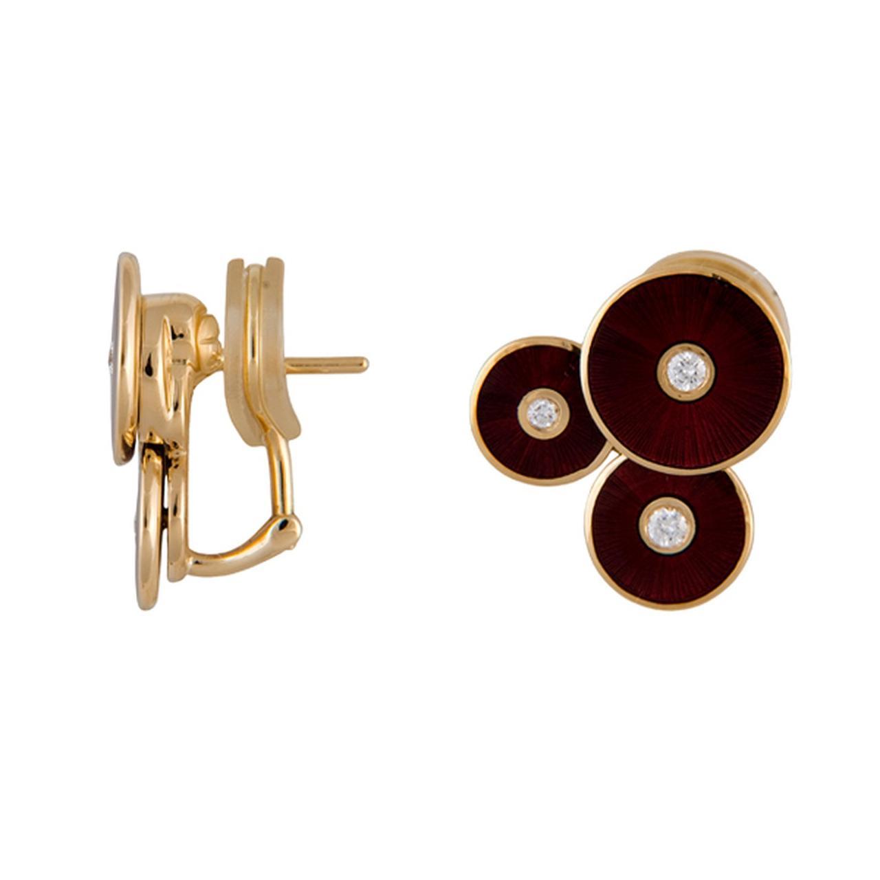 Серьги из желтого золота с бриллиантами и эмалью (001043)