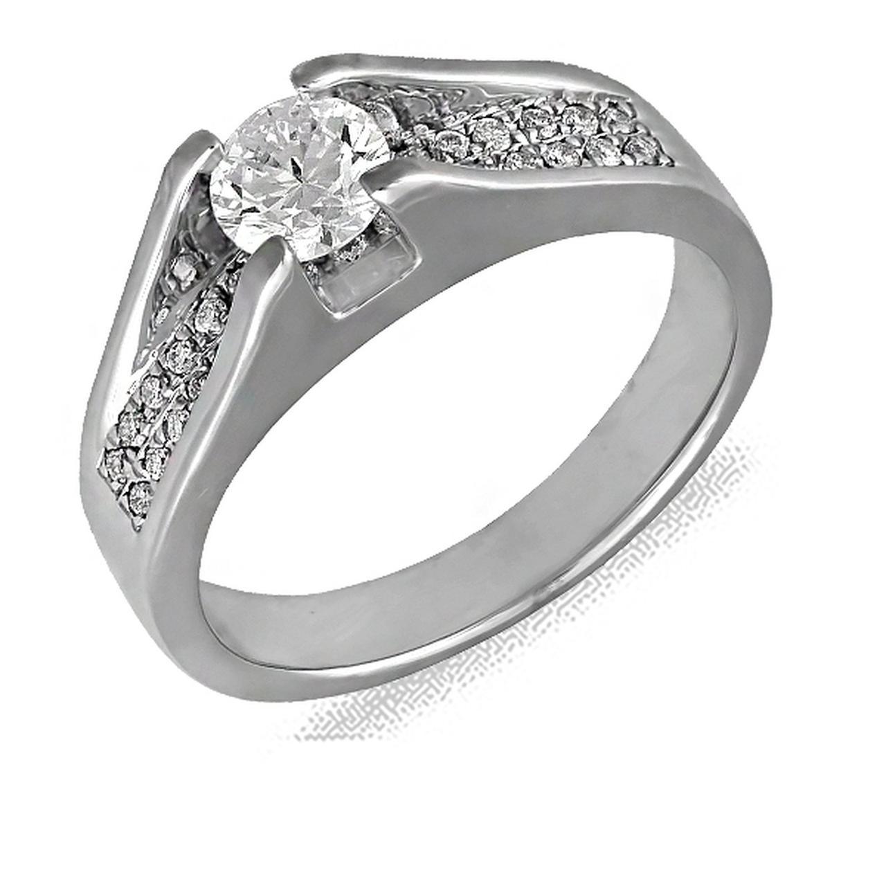 Золотое кольцо с бриллиантами, размер 15.5 (103364)