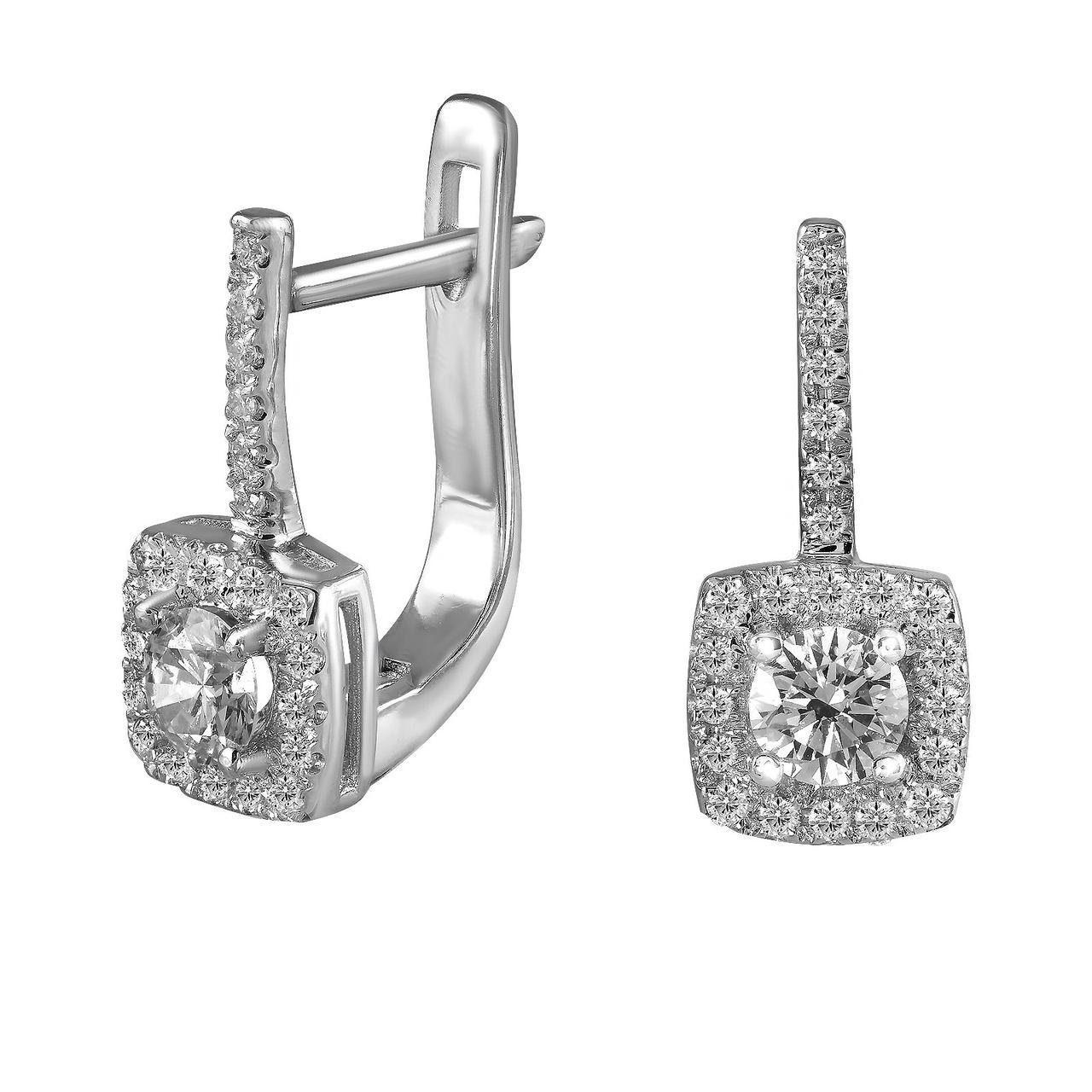 Серьги из белого золота с бриллиантами (1612045)