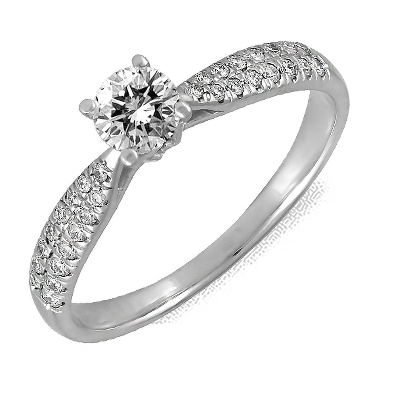 Золотое кольцо с бриллиантами, размер 17 (123270)