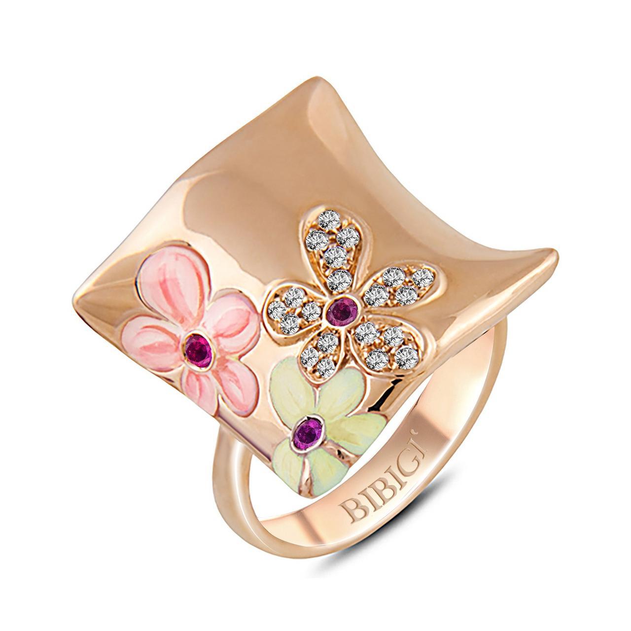 Золотое кольцо с бриллиантами и сапфирами, размер 17.5 (002116)