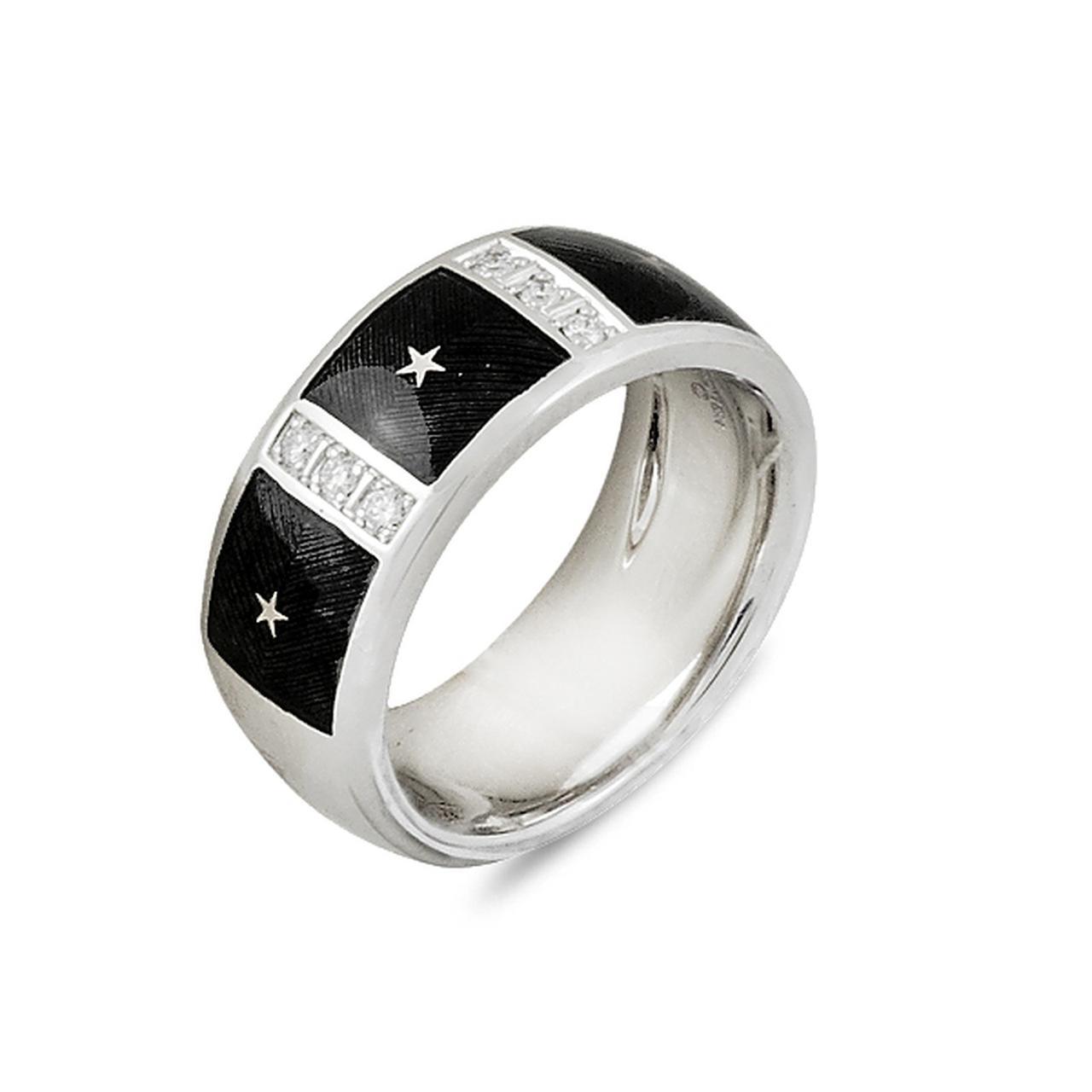 Золотое кольцо с бриллиантами и эмалью, размер 16.5 (005929)